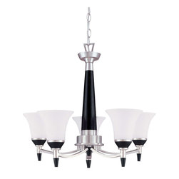 Brushed Nickel With Ebony Wood And Satin White Glass 5 Light Chandelier - Condition: New - in box