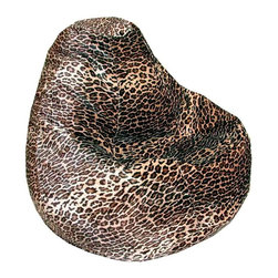 Elite Products - Adult Bean Bag in Leopard Print - Long lasting and durable. Double stitched with double overlap folded seam. Double zippered bottom for added security. Childproof safety lock zippers (pulls have been removed). Can easily be refilled by an adult. Recommended seating age: 10 to young adult. Warranty: One year limited. Made from nylon and polystyrene bead. 34 in. W x 34 in. L x 27 in. H (8 lbs.)Add a wild look to your room with our Animal style fabric bean bags. This fun and trendy look offers comfort that is ultimately soft and smooth. Welcome to the jungle, where you can lay back and take a nap!