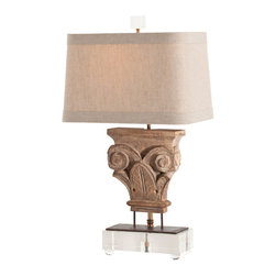 Avignon Hand Carved Solid Wood Fragment / Acrylic Lamp - Whether gracing a library, great room, or grand foyer, the Avignon Hand Carved Solid Fragment/Iron/Acrylic Lamp bestows the beauty of a garden in Southern France to your decor. The detailed hand carved botanical motif is at once subtle and dramatic. The warm neutral tone of the Natural Linen Shade yields a wonderfully diffused light, creating an ambiance of softly dappled garden sun.