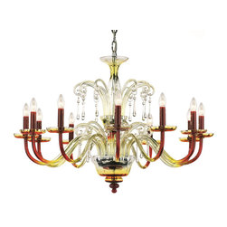 """Inviting Home - Amadeus Colored Crystal Glass Chandelier - Amadeus tempering carmine crystal glass chandelier; 39"""" x 28""""H (12 lights); assembly required; 12 light chandelier made of hand-blown smooth crystal glass infused with combination of minerals to produce tempering carmine color. Chandelier has traditional clear crystal trimmings all metal parts are chromium plated; Preciosa genuine Czech crystal; * ready to ship in 2 to 3 weeks; * assembly required; The design of all crystal glass chandeliers are based on the combination of classical shapes and modern decorations. Plane shapes in clear crystal or other colors mingle with decorative elements such us straight cuts optic or spun crystal glass. As fixed stars among lighting fixtures these types of chandeliers become timeless sources of illumination suitable for various interiors. These chandeliers are manufactured using oxygen fuel technology. Only few manufacturers in Europe that use oxygen fuel technology. This allows for better control and manage the preparation process of glass. The result is impeccably pure glass of highest quality with minimal amount of visual irregularities. Machine cut crystal trimmings with the highest brilliance and dispersion possible. Every component passes thorough strict internal Quality Control processes. Highest quality European production with certified standards."""