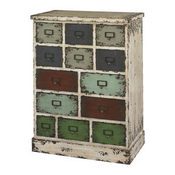 Powell - Powell Parcel 13 Drawer Cabinet X-333-099 - The Parcel Cabinet will add vintage character and interest to any area of your home. The cabinet has a distressed white frame and multicolored distressed drawer fronts that give the piece a vintage, industrial flair. Each drawer is accented with an antiqued styled pull. Thirteen multi-sized drawers provide ample storage space for a variety of items. Perfect for an entry, hobby room or bedroom.