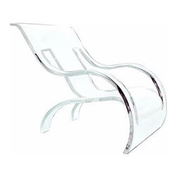 Spectrum West - Spectrum West | Summers Lounge Chair - Design house Spectrum West is committed to creating high quality acrylic furniture designs that are functional, artistic, modern, strong, fluid and beautiful. The Summers Lounge Chair works as an unforgettable form in a variety of settings from traditional, to eclectic, to modern. To ensure sustainability, a majority of the designs are fabricated from a single sheet of acrylic and are run through a laser cutter to prevent mistakes in proportions. Each design is sanded, buffed and polished by hand to ensure lasting quality. The ultimate acrylic lounger. Laser cut from a single sheet of acrylic and molded in to this armed, relaxed design element. Suitable for indoor/outdoor use. Spectrum West uses only the finest quality of acrylic - domestically manufactured by Polycast Technology Corporation. Because Polycast acrylic sheets are of such exceptional quality, Spectrum West guarantees that every piece of furniture they manufacture will have the highest degree of optical clarity. Pieces will never yellow, become milky or cloudy. Their cast acrylic sheets are strong, stable, and weather resistant. Acrylics withstand exposure to light from fluorescent lamps without darkening or deteriorating. Eco-friendly? Yes! Spectrum West cast acrylic sheets are lightweight, reducing energy usage and transportation costs; easy to work with, conserving resources and manpower; and low-maintenance, offering extended product life with little or no maintenance. Acrylics minimize mold and reduce contamination with their inherent moisture and air barriers. Spectrum West insures that their acrylic manufacturer actively recycles acrylic. And products are recyclable or may contain recycled content.