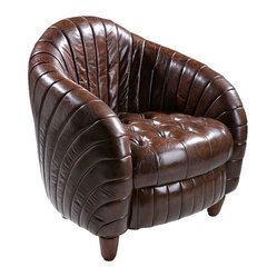 Great Deal Furniture - Charlotte Brown Top Grain Leather Club Chair - This opulent, leather club chair oozes with character. Inspired by an old-English smoker's chair, the solid hardwood base is covered in top-grain distressed leather that's tufted in a unique design. It's perfect for watching Sunday afternoon football!