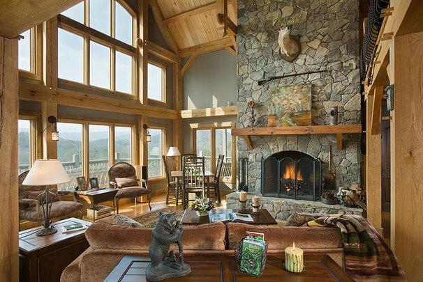Eclectic Living Room by Ruebl Builders LLC