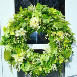 Spring Wreath With Hydrangea And Apple Blossoms By julielaplant