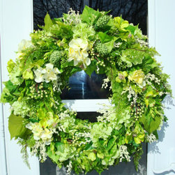 Spring Wreath With Hydrangea And Apple Blossoms By julielaplant - The variety of greens in this wreath make it vibrant.