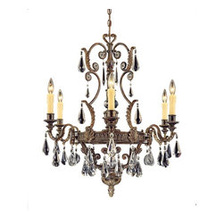 Savoy House - Marseille 6-Light Chandelier - Luxe chic design rains down upon this elegant chandelier, with crystal tear drops and bronze-stylized leaves. Go all out with this gorgeous piece, reflecting light and beauty with the flick of a switch.