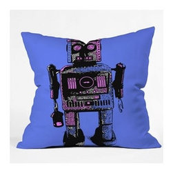 "DENY Designs - Romi Vega Lantern Robot Throw Pillow - Wanna transform a serious room into a fun, inviting space? Looking to complete a room full of solids with a unique print? Need to add a pop of color to your dull, lackluster space? Accomplish all of the above with one simple, yet powerful home accessory we like to call the DENY Throw Pillow! Features: -Romi Vega collection. -Color: Print. -Material: Woven polyester. -Sealed closure. -Spot treatment with mild detergent. -Made in the USA. -Closure: Concealed zipper with bun insert. -Small dimensions: 16"" H x 16"" W x 4"" D. -Medium dimensions: 18"" H x 18"" W x 5"" D. -Large dimensions: 20"" H x 20"" W x 6"" D. -Product weight: 3 lbs."