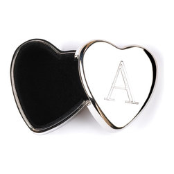 KOOLEKOO - Monogram Heart Keepsake Boxes - Delight a friend or loved one with a treasure box meant just for them! Tiny silver heart bears their initial, with a velvet lined secret compartment for a love note or miniature memento.