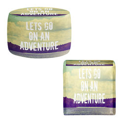 DiaNoche Designs - Ottoman Foot Stool - Lets Go On An Adventure - Lightweight, artistic, bean bag style Ottomans. You now have a unique place to rest your legs or tush after a long day, on this firm, artistic furtniture!  Artist print on all sides. Dye Sublimation printing adheres the ink to the material for long life and durability.  Machine Washable on cold.  Product may vary slightly from image.