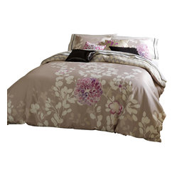 Blissliving Home - Kaleah Duvet Set, Reversible, Full/Queen - Why settle for one pretty print when this bed set — including a duvet cover and matching shams — offers you two? Made of imported 300 thread count cotton sateen, it features an unfussy floral on one side and a complementary chevron on the flip.