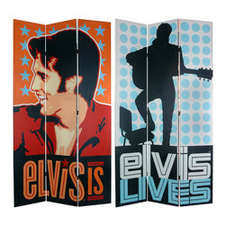 "Oriental Furniture - 7 ft. Tall Double Sided Elvis Presley Lives Canvas Room Divider - Elvis Is and ""Elvis Lives,"" long live the King! Limited edition decorative partition with a colorful stylized photo and an in-concert silhouette of the young Elvis Aaron Presley. Attractive, musically inclined home decor, ideal accessory for all who take inspiration from the spirit of Elvis."