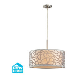 ELK - ELK 53001/3 Pendant - This series captures the essence of nature with warm, earth-tone colors and a fresh design concept.  An abstract pattern, reminiscant of blowing leaves in the wind, is placed on clear material to give a light, airy feel while an inner beige fabric drum provides the backdrop for depth and a soft diffusion of light.