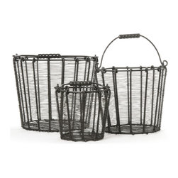 Go Home - Factory Wire Baskets Set of 3 - An intimate space created from recycled and reclaimed wood and windows is our idea of heaven!
