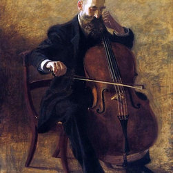 """Thomas Eakins The Cello Player - 18"""" x 24"""" Premium Archival Print - 18"""" x 24"""" Thomas Eakins The Cello Player premium archival print reproduced to meet museum quality standards. Our museum quality archival prints are produced using high-precision print technology for a more accurate reproduction printed on high quality, heavyweight matte presentation paper with fade-resistant, archival inks. Our progressive business model allows us to offer works of art to you at the best wholesale pricing, significantly less than art gallery prices, affordable to all. This line of artwork is produced with extra white border space (if you choose to have it framed, for your framer to work with to frame properly or utilize a larger mat and/or frame).  We present a comprehensive collection of exceptional art reproductions byThomas Eakins."""