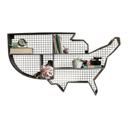 Silver Nest - United Wall Shelf - United States Shaped Metal Wall Shelf