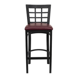 """FlashFurniture - Hercules Series Window Back Metal Restaurant Bar Stool - Features: -Heavy duty restaurant bar stool. -Black vinyl upholstered seat. -Black powder coated frame finish. -18 Gauge steel frame. -75"""" Thick plywood seat. -Welded joint assembly. -Foot rest rung. -Window style back. -Two curved support bars. -Assembly required. Specifications: -Seat size: 16.25"""" W x 16.5"""" D. -Back size: 16"""" W x 11.5"""" H. -Dimensions: 41.75"""" H x 17"""" W x 19"""" D."""