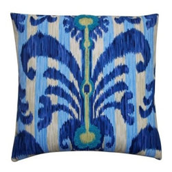 Jiti Java Pillow - The Jiti Java Pillow offers a bold look that brightens up any setting. This pillow features a colorful pattern in complementing blue tones. Its 100% cotton cover is filled with comfy feather and down fill. Size and color options available. Dry clean recommended.About Jiti PillowsJiti has a wide range of bedding and accent pillow products, so you're sure to find the perfect complement for your home decor in their line. The company is based in Los Angeles, California, and all of their products are proudly made in America. Using luminous colors, rich patterns, and varied textures, Jiti creates products that can help you give your room an exotic makeover in minutes. Goga Bouquet, Jiti's designer, gets her inspiration from her Argentine heritage and her fascination with Indian culture. The result is beautiful, exotic pieces that still have a modern feel.