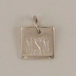 RR - Engraved Sterling Silver Square Pendant with O-ring Attachment - Engraved Sterling Silver Square Pendant with O-ring Attachment