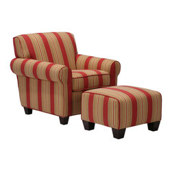 PORTFOLIO - Portfolio Mira 8-way Hand-tied Crimson Red Stripe Arm Chair and Ottoman - This Portfolio Mira arm chair and ottoman are featured in an attractive striped print to brighten up your living space. The solid wood frame construction is resilient and durable.