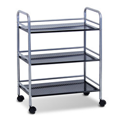 Furinno - Black Metal Wide Three-Tray Rolling Cart - Perfect for storage in the office or kitchen, this sturdy metal cart features three trays and wheels for convenience.   23.6'' W x 29.53'' H x 12.6'' D Ventilated metal / PVC Assembly required Imported