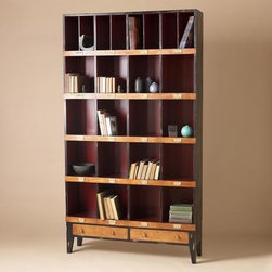 Tall Draper's Cabinet - You can't help but fall in love with this beautifully classic bookcase/cabinet. A lovely place to store books and special pieces, each cubby is numbered with an antique brass cardholder.