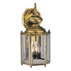Progress Lighting - Progress Lighting P5832-11 BrassGUARD Wall Light - Weathered solid brass hexagonal wall lantern with beveled glass.