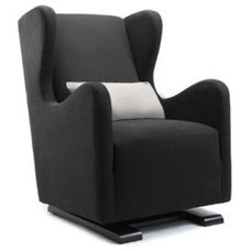 Modern Rocking Chairs And Gliders Monte Vola Glider in Bonded Leather, Black