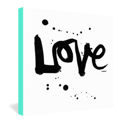 DENY Designs - Kal Barteski Love 1 Gallery Wrapped Canvas - It's a simple recipe: All you need is love. Kal Barteski's hand-scripted reminder of life's essential ingredient captures that simplicity in a minimalist black and white composition that speaks for itself. Dye-printed onto a 1 1/2-inch-deep canvas with turquoise borders for a chic modern presentation.