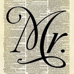 """Altered Artichoke - Mr. Wedding Typography Dictionary Print, Black - This print features our exclusive design of the word """"Mr."""" in a fancy font printed on a vintage dictionary page. Be sure to see the companion """"Mrs."""" print too! Perfect to display at a wedding, or add to your bedroom decor. Really, it would be great in any room."""