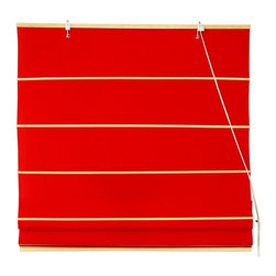 Oriental Unlimited - Cotton Roman Shades in Red (72 in. Wide) - Size: 72 in. Wide. These Red colored Roman Shades combine the beauty of fabric with the ease and practicality of traditional blinds. Made of 100% cotton. Easy to hang and operate. 24 in. W x 72 in. H. 36 in. W x 72 in. H. 48 in. W x 72 in. H. 60 in. W x 72 in. H. 72 in. W x 72 in. H