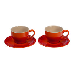 Le Creuset - Le Creuset Cappuccino Cups and Saucers, Set of 2 - Don't take your coffee in a travel mug anymore  elevate this part of your morning routine to something worth savoring. Take a few minutes to slowly sip a cappuccino, with our set of two cappuccino cups and two saucers.