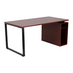 Flash Furniture - Flash Furniture Mahogany Computer Desk with Open Storage Pedestal - This large surface writing desk will provide you enough space for your computer and writing materials. The open pedestal compartment will allow you to put your CPU and other small materials away neatly within the desk. The exposed metal frame gives this desk a more modern appeal.