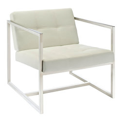 Modway Furniture - Modway Hover Lounge Chair in White - Lounge Chair in White belongs to Hover Collection by Modway Embrace mid-century elements with this welcoming reception seating chair. Hover is a modern chair, but not for the typical reasons. Its padded vinyl buttoned seat and back, and geometric stainless steel frame, truly develop space and form in an innovative way. Hover is perfect both for those offices looking to impress new clients, and for anyone who ever dreamed of stationary flight. Set Includes: One - Hover Modern Reception Chair Lounge (1)