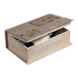 Sterling Industries - Wine Holder Book Box Decorative Accessory in Garron Grey Linen - Wine Holder Book Box Decorative Accessory in Garron Grey Linen by Sterling Industries