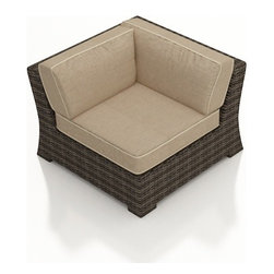 Forever Patio - Bayside Outdoor Wicker Sectional Corner, Spectrum Mushroom Cushions - Create a functional and highly stylish L-sectional with the Bayside Sectional Corner Chair (SKU FP-BAY-SC-SW-SM). The Stone Wood wicker is infused with color and UV-inhibitors, creating a look that will last throughout the seasons. It also sports a thick, flat-weave design that is brimming with modern beauty. This sectional includes fade- and mildew-resistant Sunbrella cushions; the industry's best outdoor fabric. You will also receive matching accent pillows for each seat when you order with Quick Ship fabrics.