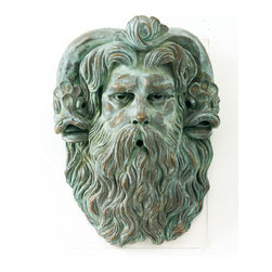 """Plaques and Architectural Elements - Our stunning Neptune Head Fountain 18""""X14""""X9"""" shown in Bronze metal."""