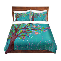 DiaNoche Designs - Duvet Cover Twill - Happy Tree - Lightweight and super soft brushed twill Duvet Cover sizes Twin, Queen, King.  This duvet is designed to wash upon arrival for maximum softness.   Each duvet starts by looming the fabric and cutting to the size ordered.  The Image is printed and your Duvet Cover is meticulously sewn together with ties in each corner and a concealed zip closure.  All in the USA!!  Poly top with a Cotton Poly underside.  Dye Sublimation printing permanently adheres the ink to the material for long life and durability. Printed top, cream colored bottom, Machine Washable, Product may vary slightly from image.
