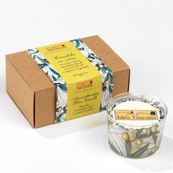 Prima Spremitura/Tuscany Idea - Hand Crafted Aromatherapy Olive Candle in Italian-Made Glass - Hand Crafted Olive Candle