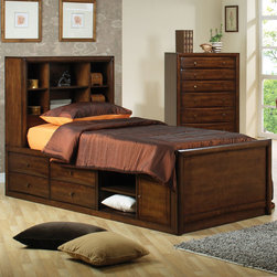 Coaster - Scottsdale Full Bed - The Scottsdale collection is offered in either a twin or a full chest bed which includes the wood rib support. This youth collection is offered in a rich deep walnut finish with bevelled wood fronts on all drawers accented with brushed brass hardware.