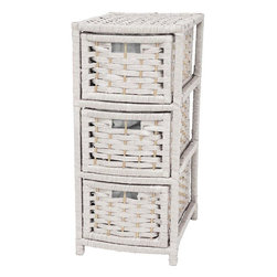 "Oriental Furniture - 25"" Natural Fiber Occasional Chest of Drawers - White - A sturdy and light weight chest. Well crafted rattan like design, built on kiln dried wood frames, with strong, durable, spun plant fiber cord, interwoven with quarter inch dyed wood doweling. The narrow shape is particularly practical, great where organized storage is needed. Can also be used as a narrow end table or lamp table."