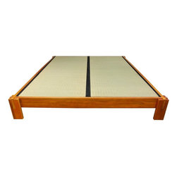 Oriental Furniture - Tatami Platform Bed - Honey - Queen - This Tatami Platform Bed is made of Beech and Birch wood done in a stunning honey finish. It is the perfect addition to your zen inspired bedroom retreat. Tatami Mats are not included with the purchase of this bed.