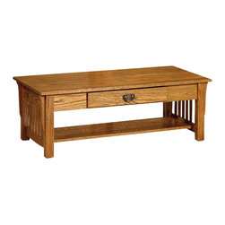 Chelsea Home Furniture - Chelsea Home Adamstown Coffee Table in Red Oak - Complete your Adamstown living room set with solid wood tables, shown in red Oak. The end table, coffee table and sofa table are crafted with the same precision as all of our solid wood products. Each table comes complete with a solid bottom shelf to store magazines, DVDs and other entertainment items. Chelsea Home Furniture proudly offers handcrafted American made heirloom quality furniture, custom made for you. What makes heirloom quality furniture? It's knowing how to turn a house into a home. It's clean lines, ingenuity and impeccable construction derived from solid woods, not veneers or printed finishes over composites or wood products _ the best nature has to offer. It's creating memories. It's ensuring the furniture you buy today will still be the same 100 years from now! Every piece of furniture in our collection is built by expert furniture artisans with a standard of superiority that is unmatched by mass-produced composite materials imported from Asia or produced domestically. This rare standard is evident through our use of the finest materials available, such as locally grown hardwoods of many varieties, and pine, which make our products durable and long lasting. Many pieces are signed by the craftsman that produces them, as these artisans are proud of the work they do! These American made pieces are built with mastery, using mortise-and-tenon joints that have been used by woodworkers for thousands of years. In addition, our craftsmen use tongue-in-groove construction, and screws instead of nails during assembly and dovetailing _both painstaking techniques that are hard to come by in today's marketplace. And with a wide array of stains available, you can create an original piece of furniture that not only matches your living space, but your personality. So adorn your home with a piece of furniture that will be future history, an investment that will last a lifetime.