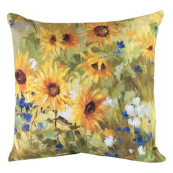 "Manual - Pair of ""Sunflower Fields"" Floral Print Indoor / Outdoor Throw Pillows - This pair of 18 inch by 18 inch woven throw pillows adds a wonderful accent to your home or patio. The pillows have (No Suggestions) weatherproof exteriors, that resist both moisture and fading. The front and back of the pillows have the same print, a reproduction painting of sunflowers and wildflowers in a field. They have 100% polyester stuffing. These pillows are crafted with pride in the Blue Ridge Mountains of North Carolina, and add a quality accent to your home. Original artwork by Fabrice de Villeneuve. They make great gifts for flower lovers."