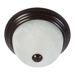 YOSEMITE HOME DECOR - 2 Lights Flush Mount in Oil Rubbed Bronze with Marble Glass - - 11.25 Flush Mount