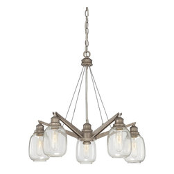 Savoy House - Orsay 5-Light Chandelier - The Savoy House Orsay collection, designed by Brian Thomas , combines vintage lighting inspirations with modern steel finishes and clear glass globes for an appealing industrial look.