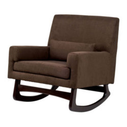 nurseryworks - Nurseryworks - Sleepytime Rocker - The full-back upholstered rocker sports wood legs in a choice of light or dark ash. Upholstery fabric comes in a range of colors of soft and easy-to-clean microsuede.  Click here for assembly instructions on the Sleepytime Rocker.