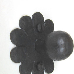 HK2 Spanish style wrought iron rosette cabinet hardware - A forged wrought iron knob with Spanish rosette back plate.  Forged and not cast.  Comes with mounting hardware.  Shown in natural wax finish.  Other finishes offered.  Made in the USA.
