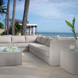 North Sectional Sofa from Skyline Design - The North Outdoor Furniture Collection features a unique and elegant design, indicative of the innovation and quality that has made Skyline Design the leader in luxury outdoor furniture.  Integrating the finest synthetic weaving materials with strong aluminum frames, Skyline Design creates furniture that is as beautiful as it is durable.  The North Outdoor Furniture Collection is completely upholstered with batyline® mesh, a revolutionary mass-colored PVC fiber that is UV-resistant, water repellant and resistant to water from swimming pools and the ocean.  this easy to maintain mesh, holds up in extreme temperatures (-22°F to +158°F), contains no toxins, is environmentally friendly and 100% recyclable.