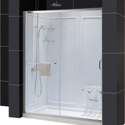 "DreamLine - DreamLine Infinity-Z Frameless Sliding Shower Door - This kit combines the INFINITY-Z shower door, universal shower backwall panels and a coordinating SlimLine shower base to completely transform a shower space. The INFINITY-Z sliding shower door is matched with a stationary glass panel to provide a wide bath entry. The stationary panel is fitted with a convenient towel bar that doubles as a handle. The SlimLine shower base incorporates a low profile design for a sleek modern look, while the shower backwall panels have a tile pattern. This smart kit offers the perfect solution for a bathroom remodel or tub-to-shower conversion project. Items included: Infinity-Z Shower Door, 36 in. x 60 in. Single Threshold Shower Base and QWALL-5 Shower Backwall KitOverall kit dimensions: 36 in. D x 60 in. W x 76 3/4 in. HInfinity-Z Shower Door:,  56 - 60 in. W x 72 in. H ,  1/4 (6 mm) clear tempered glass,  Chrome or Brushed Nickel hardware finish,  Frameless glass design,  Width installation adjustability: 56 - 60 in.,  Out-of-plumb installation adjustability: Up to 1 in. per side,  Anodized aluminum profiles and guide rails,  Convenient towel bar on the outside panel,  Aluminum top and bottom guide rails may be shortened by cutting up to 4"",  Door opening: 21 3/8 - 25 3/8 in.,  Stationary panel: 27 in.,  Reversible for right or left door opening installation,  Material: Tempered Glass, Aluminum,  Tempered glass ANSI certified36 in. x 60 in. Single Threshold Shower Base:,  High quality scratch and stain resistant acrylic,  Slip-resistant textured floor for safe showering,  Integrated tile flange for easy installation and waterproofing,  Fiberglass reinforcement for durability,  cUPC certified,  Drain not included,  Center, right, left drain configurationsQWALL-5 Shower Backwall Kit:,  Color: White,  Assembly required,  Designed to be installed over existing finished surface (not directly against studs),  Includes 2 glass corner shelves,  Attractive tile pattern,  Unique water tight connection of panels,  Durable acrylic/ABS construction,  Trim-to-Size sidewall design,  Must be trimmed during installationProduct Warranty:,  Shower Door: Limited 5 (five) year manufacturer warranty ,  Shower Base: Limited lifetime manufacturer warranty,  Shower Backwalls: Limited 1 (one) year manufacturer warranty"